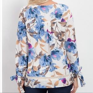 Pinkblush Tops - Pinkblush Ivory Floral Long Sleeve Tie Blouse